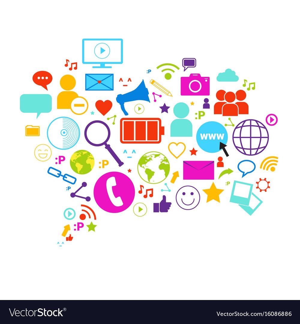 Chat bubble social media communication concept