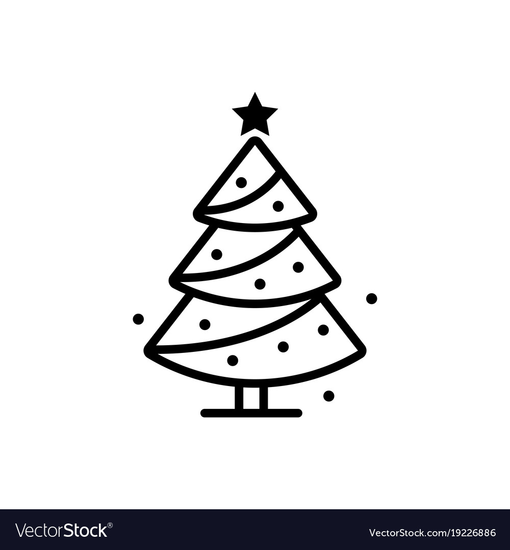 Christmas Tree Facebook Icon: Christmas Tree Line Icon Sign Royalty Free Vector Image