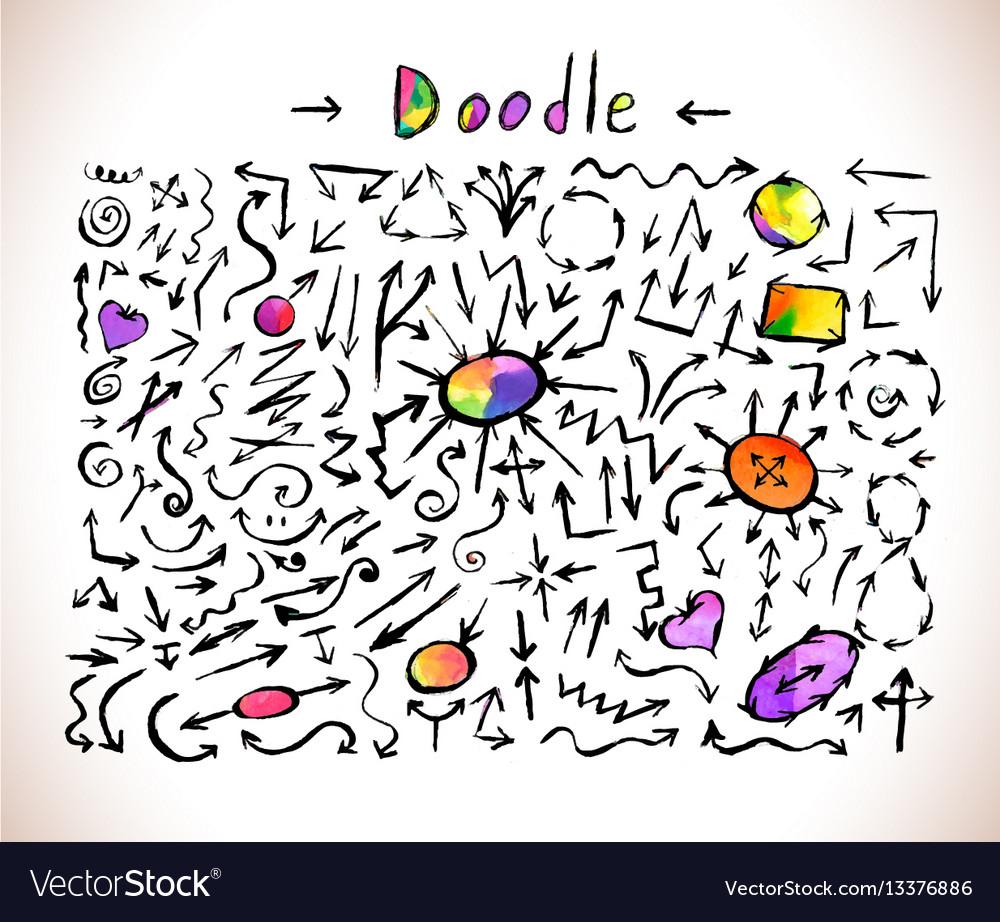 Colorful arrows set arrow art icon vector image