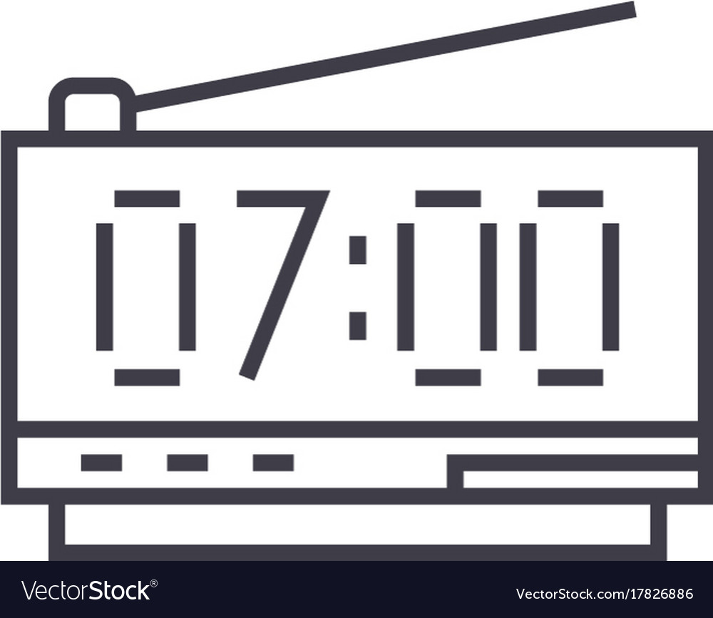 Digital clock line icon sign vector image