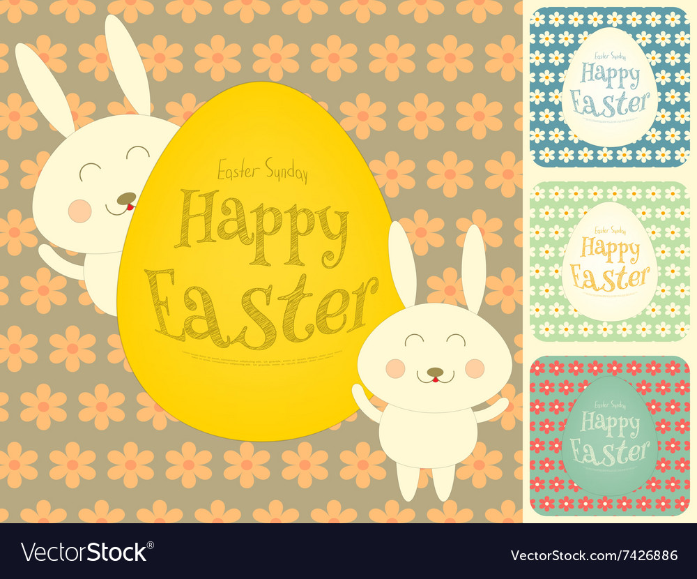 Easter Cards Set with Easter Bunny