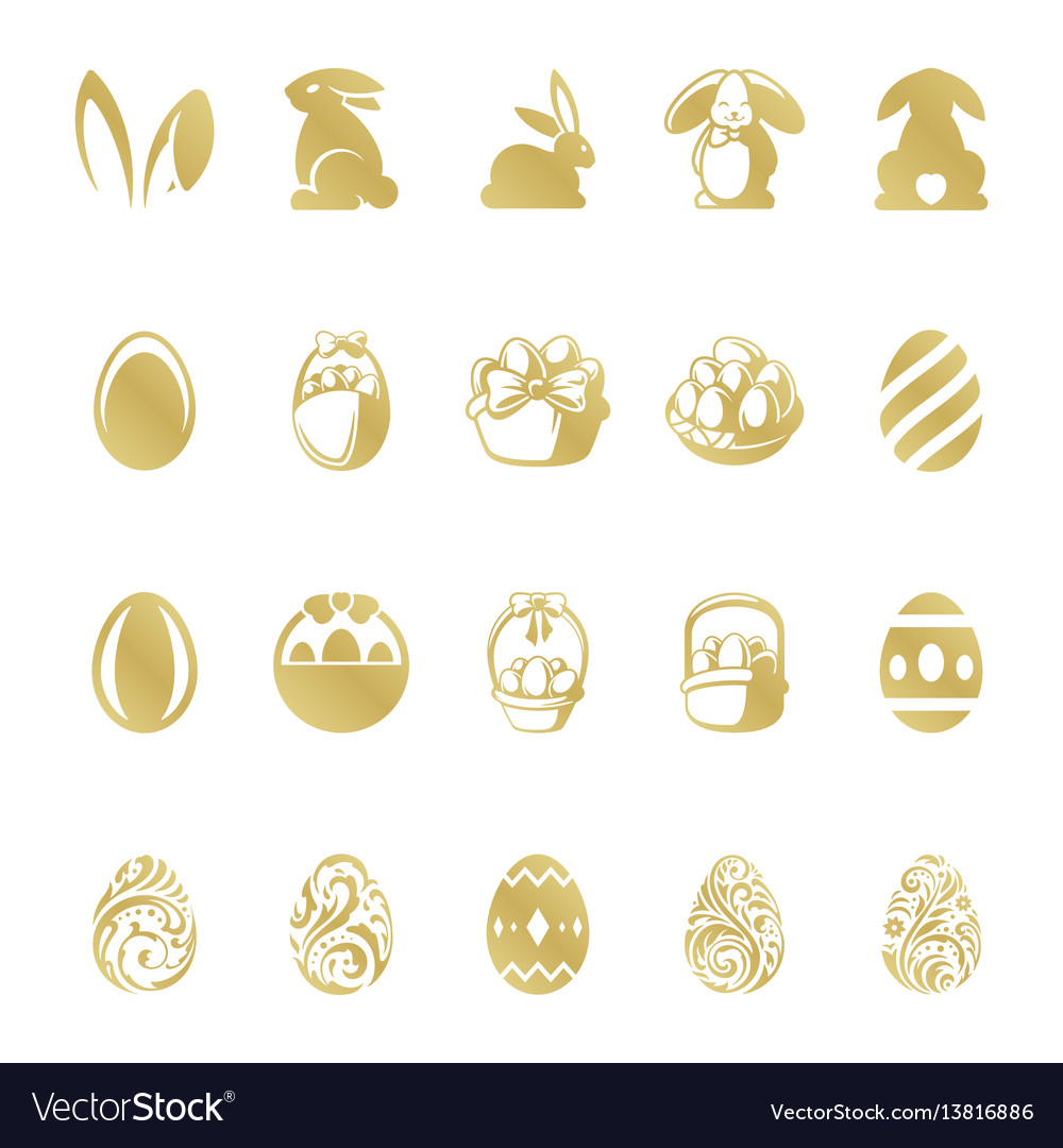 Easter retro typographic objects set