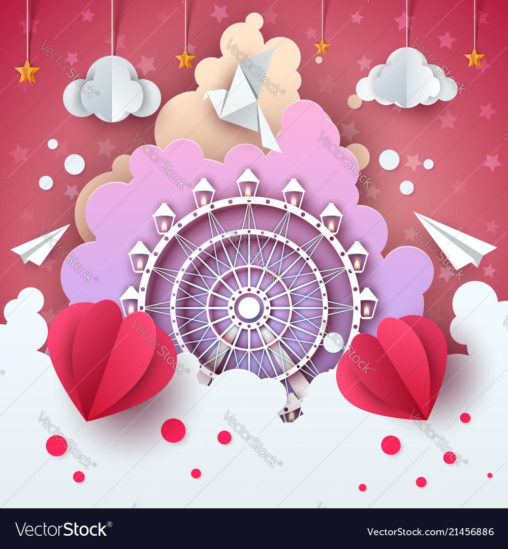 Ferris wheel in cloud - cartoon