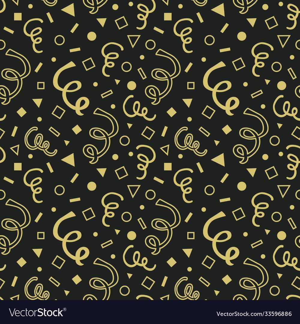 Golden hand drawn curls seamless pattern on black