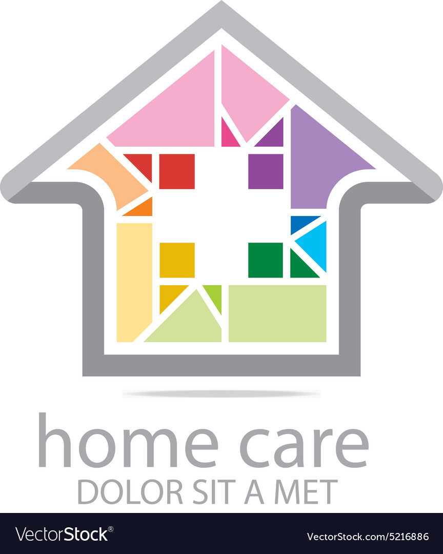 Home care healthy rainbow symbol buildings vector image