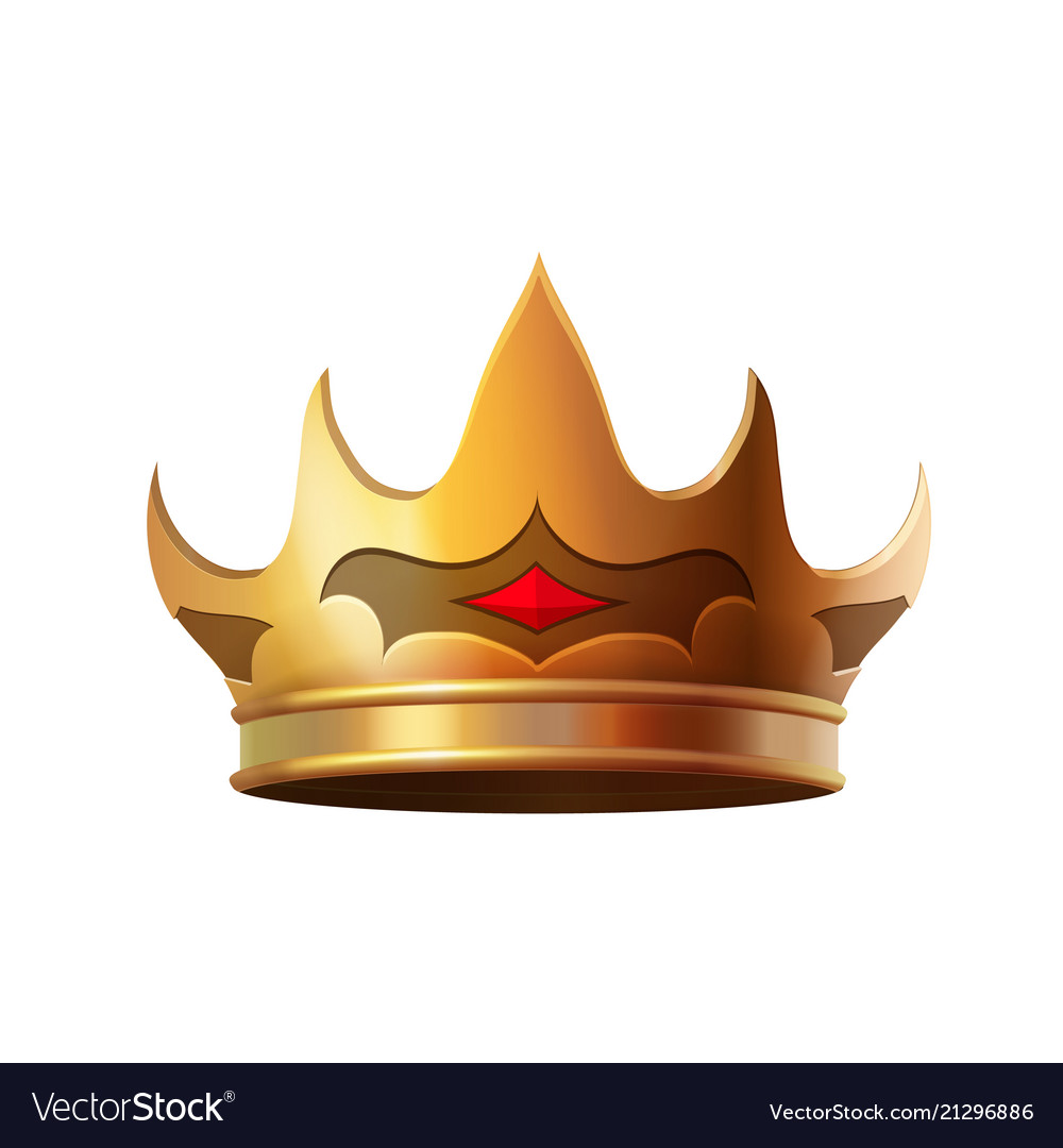 Isolated gold crown realistic icon
