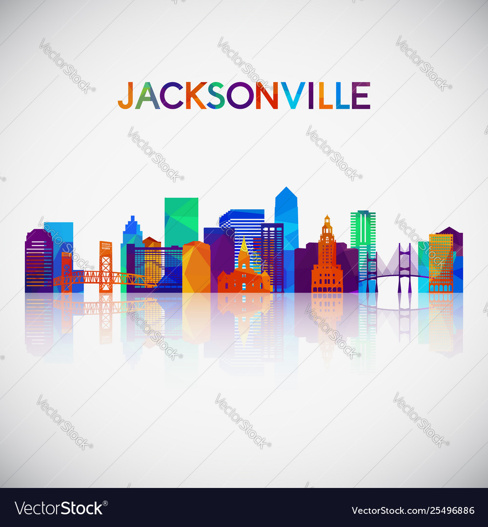 Jacksonville skyline silhouette in colorful