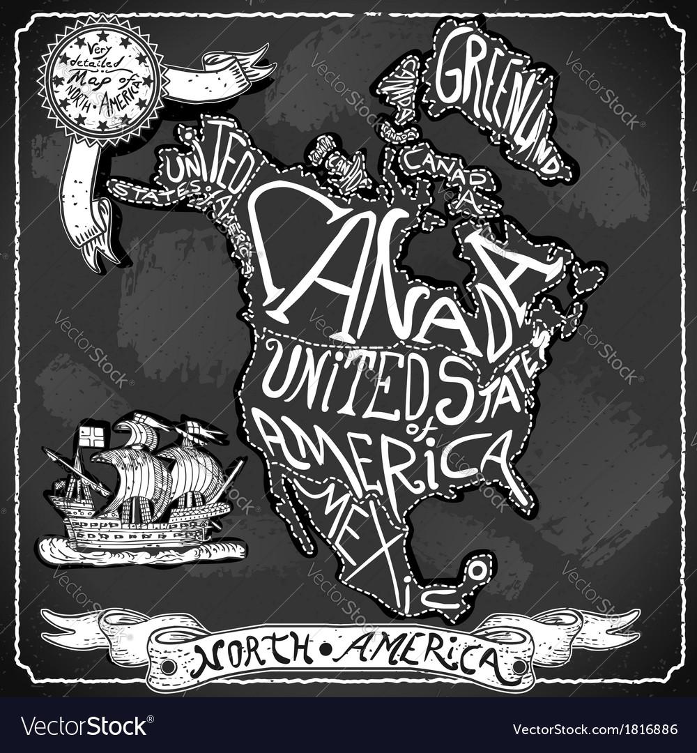 North America Map on Vintage Handwriting