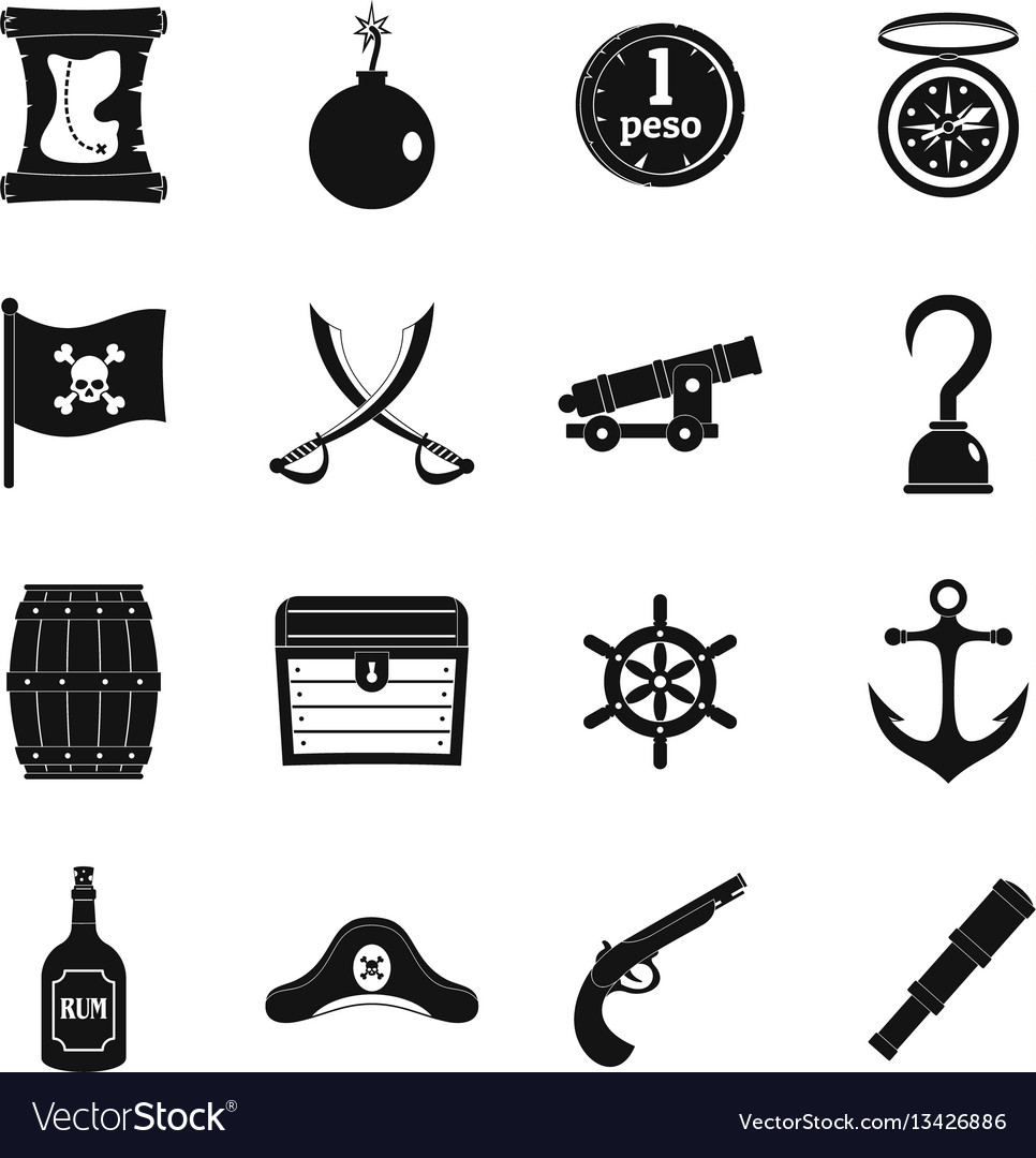 Pirate icons set simple style