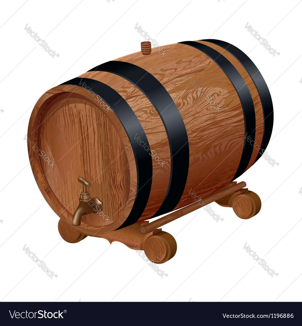 Realistic wooden barrel vector image