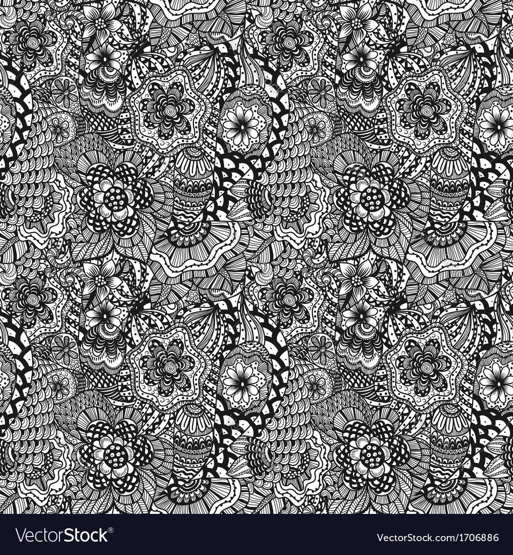 Seamless hand drawn seamless flower pattern
