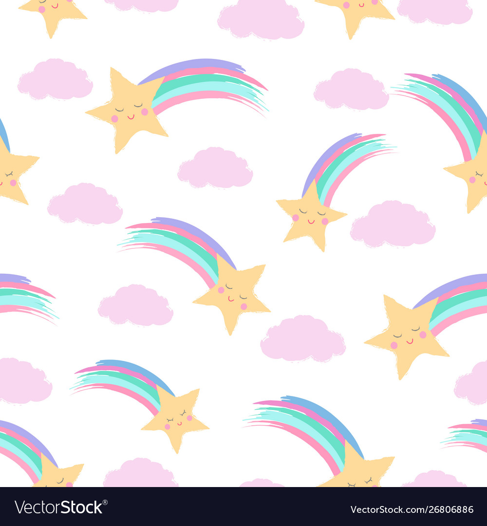 Smiling shooting stars and fluffy clouds white