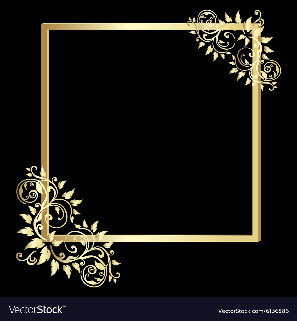 Vintage Gold Frame On Black Background Royalty Free Vector