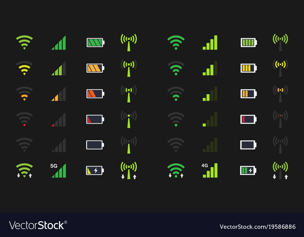 Wi-fi signal icons battery energy charge mobile