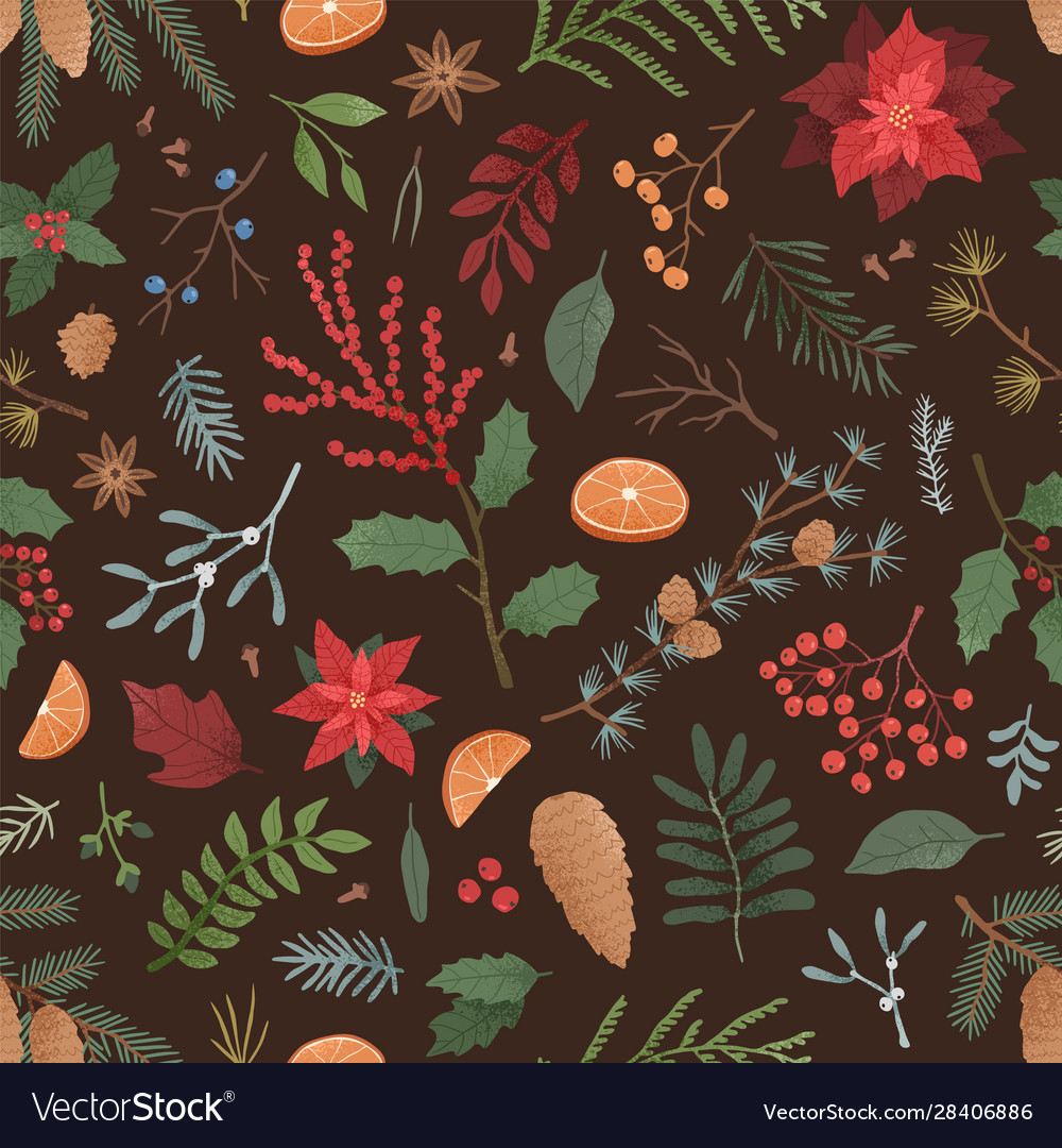 Winter flora seamless pattern hand drawn