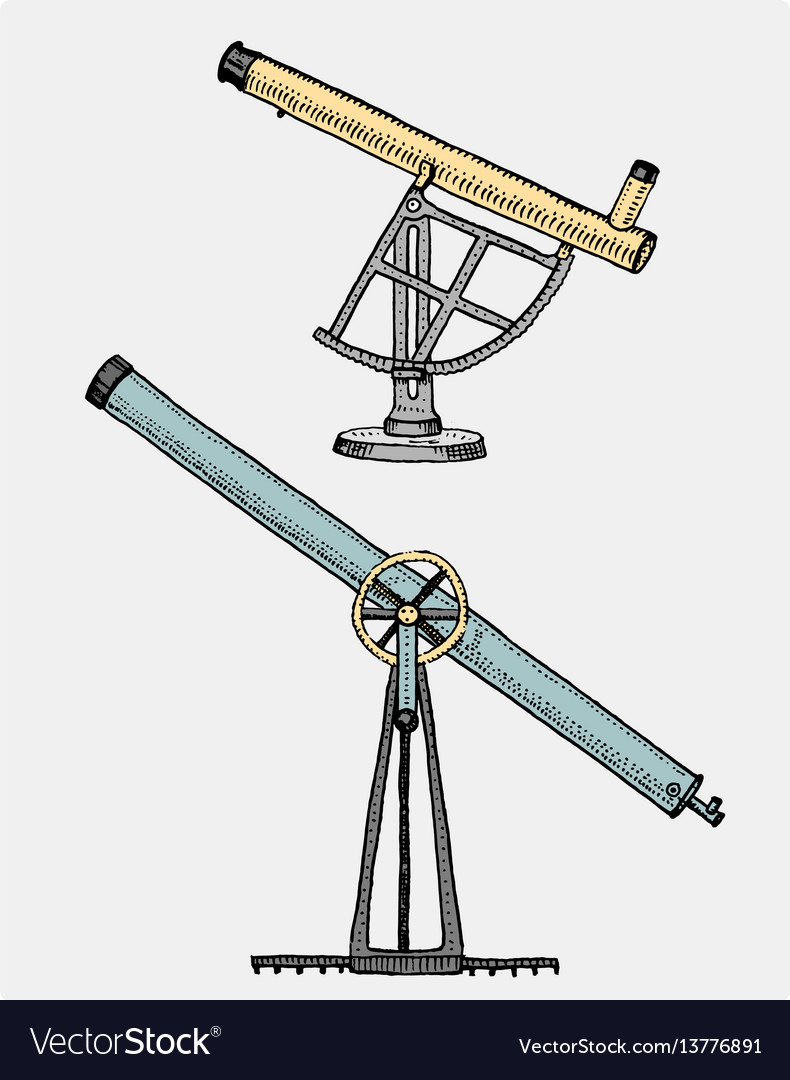 Astronomical telescope vintage engraved hand