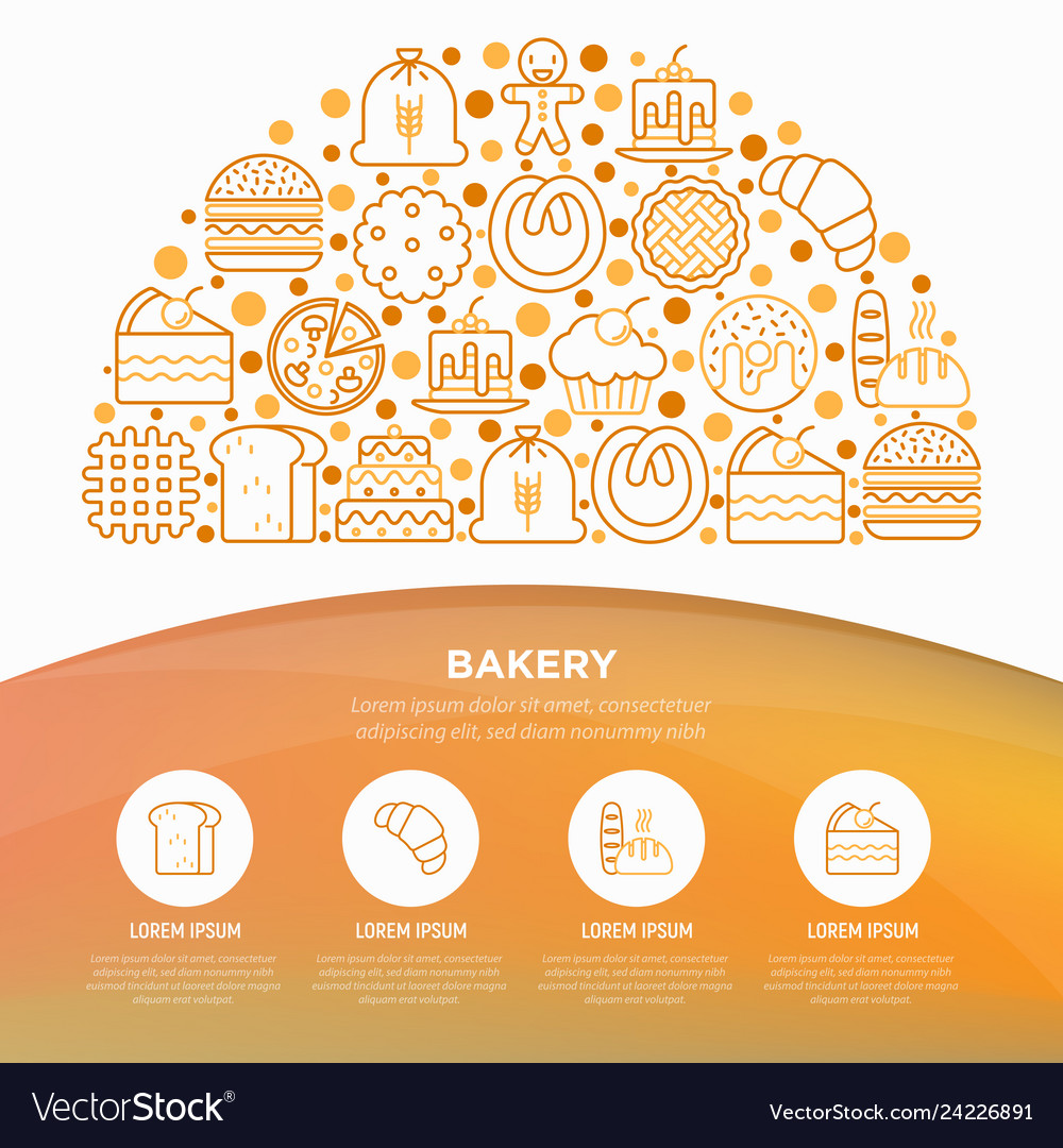 Bakery concept in half circle with thin line icons