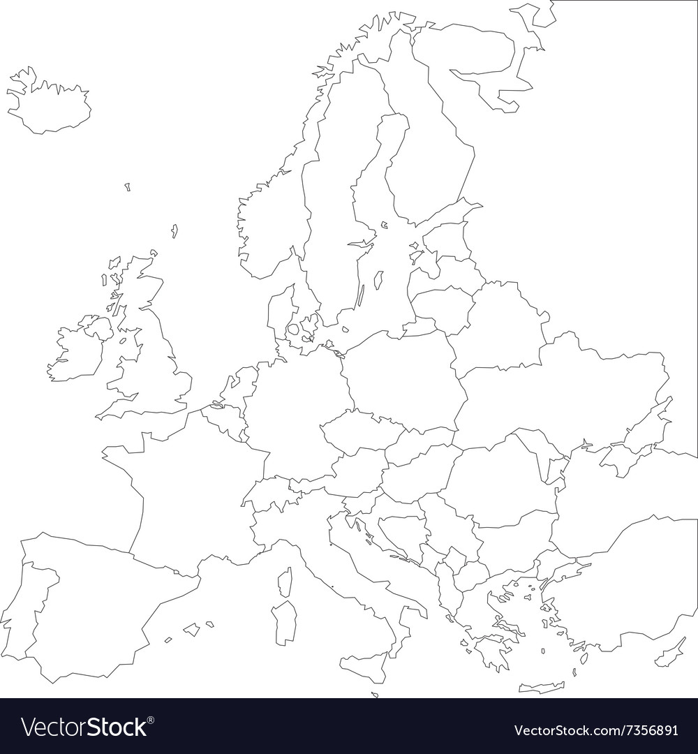 Europe Map Outline Blank outline map of Europe Royalty Free Vector Image Europe Map Outline