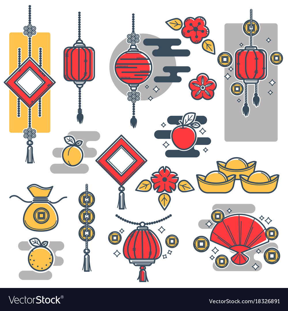 chinese new year decorations icons lantern vector image vectorstock