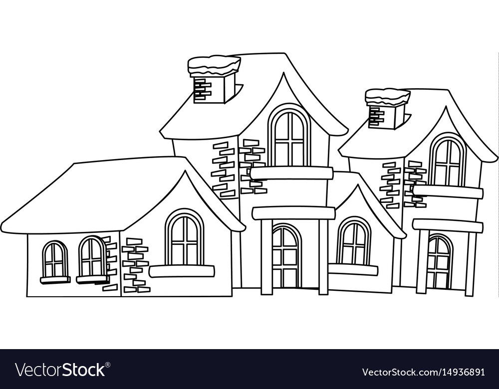 Christmas Houses Covered With Snow Chimney Vector Image