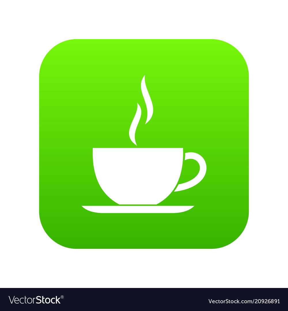 Cup of hot drink icon digital green