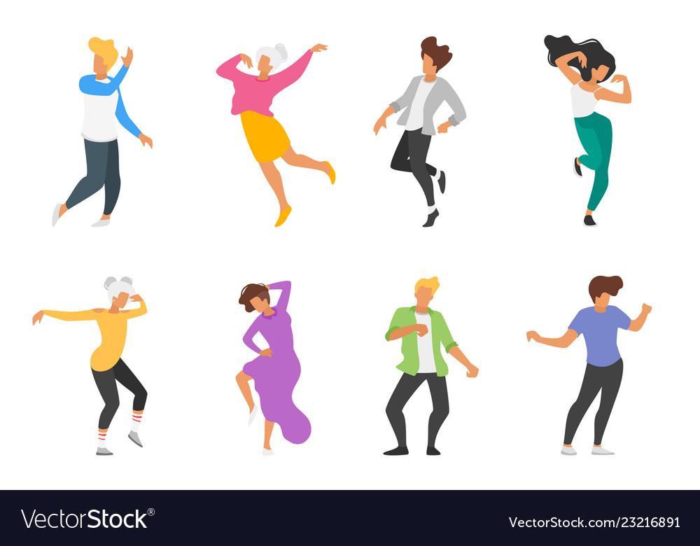 Dancing people silhouette