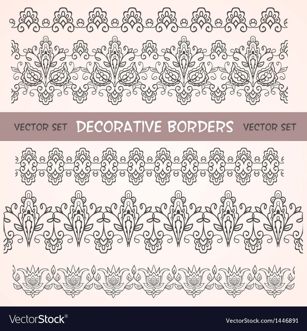 5df145ef84 Decorative lace floral seamless borders Royalty Free Vector