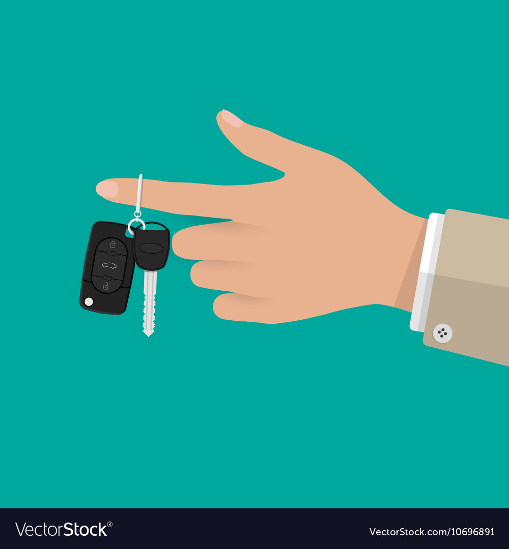 Hand holding Car Key with alarm and chain