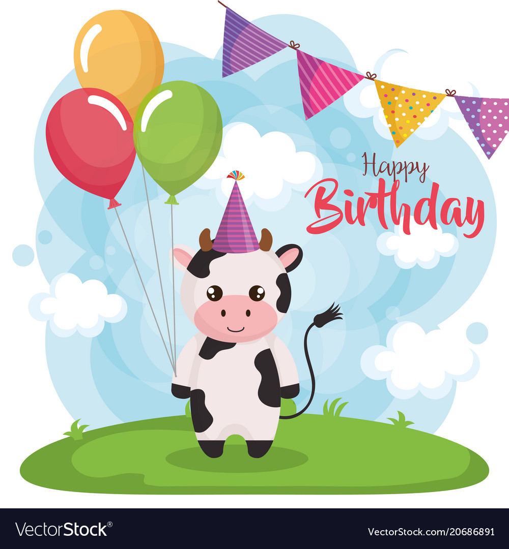 happy birthday card with cow royalty free vector image