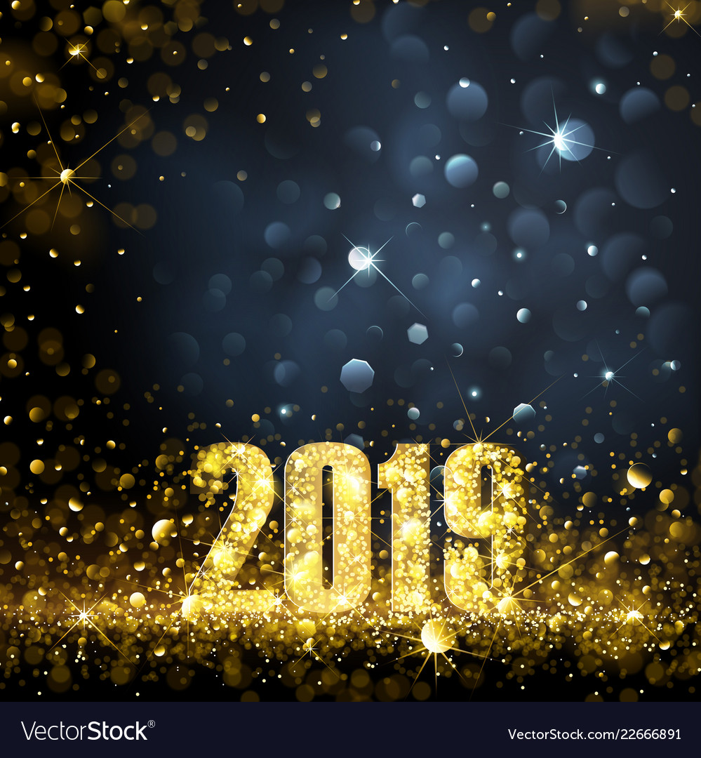 happy new year banner with gold 2019 numbers vector image