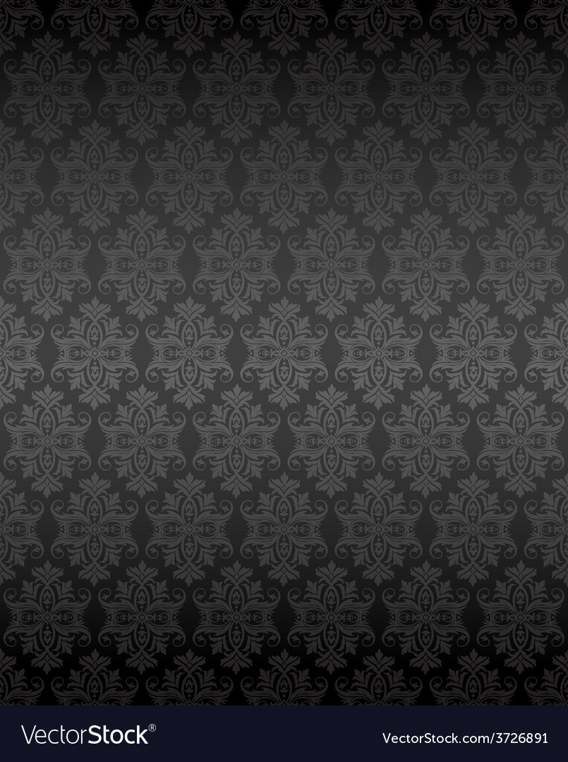 Luxury Seamless Black Floral Wallpaper Royalty Free Vector
