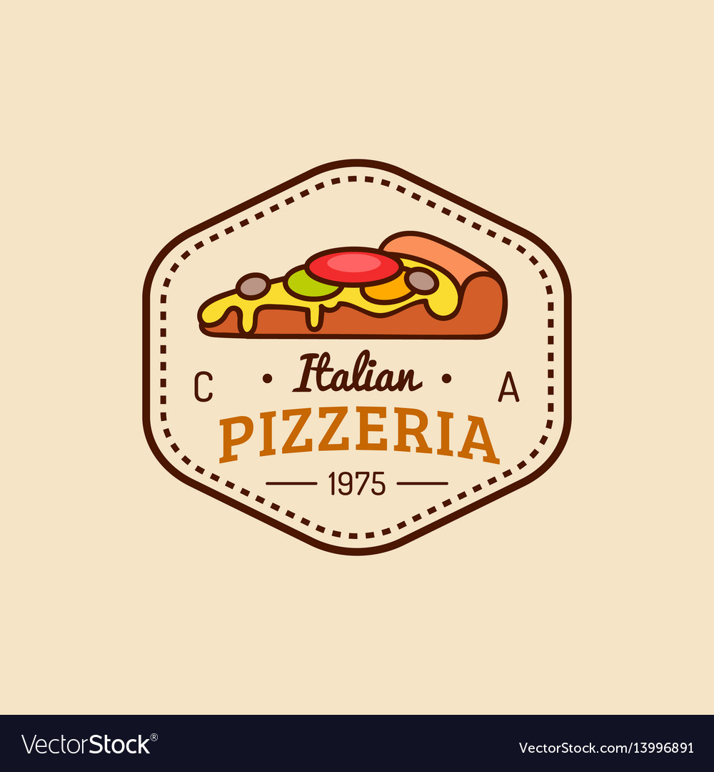 Pizza logo modern pizzeria emblem icon vector image