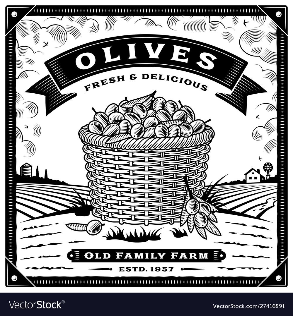 Retro olive harvest label with landscape black