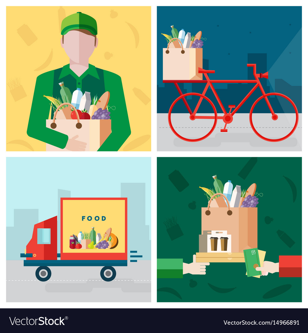 Set on delivery food theme courier bicycle