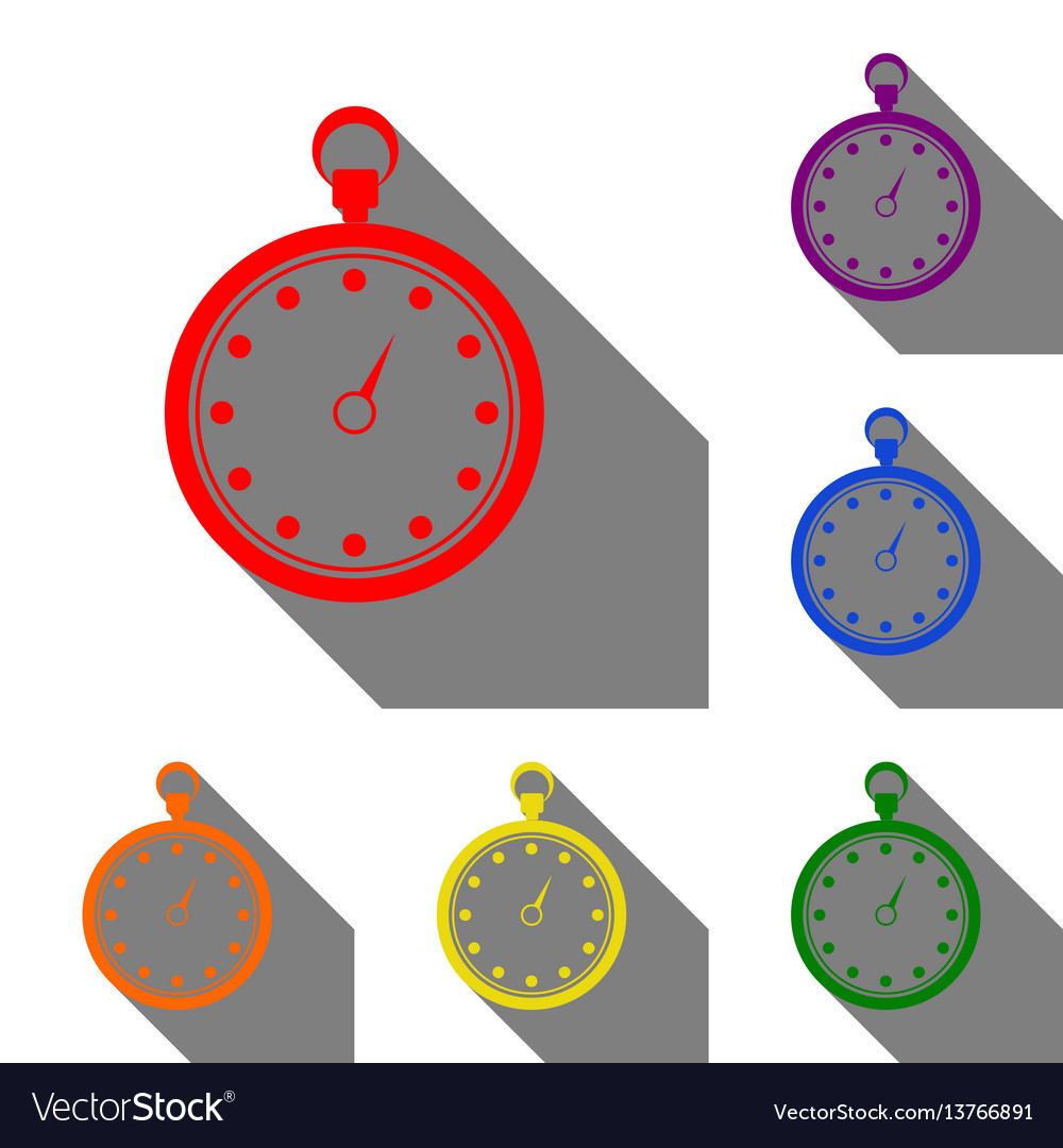 Stopwatch sign set of red orange vector image