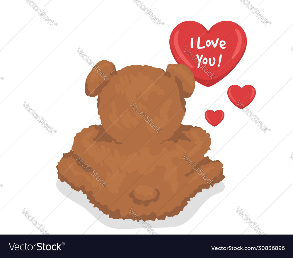 A teddy bear with hearts i love you template