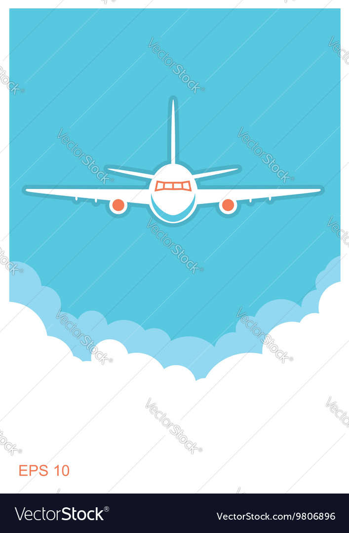 Airplane and sky blue poster background