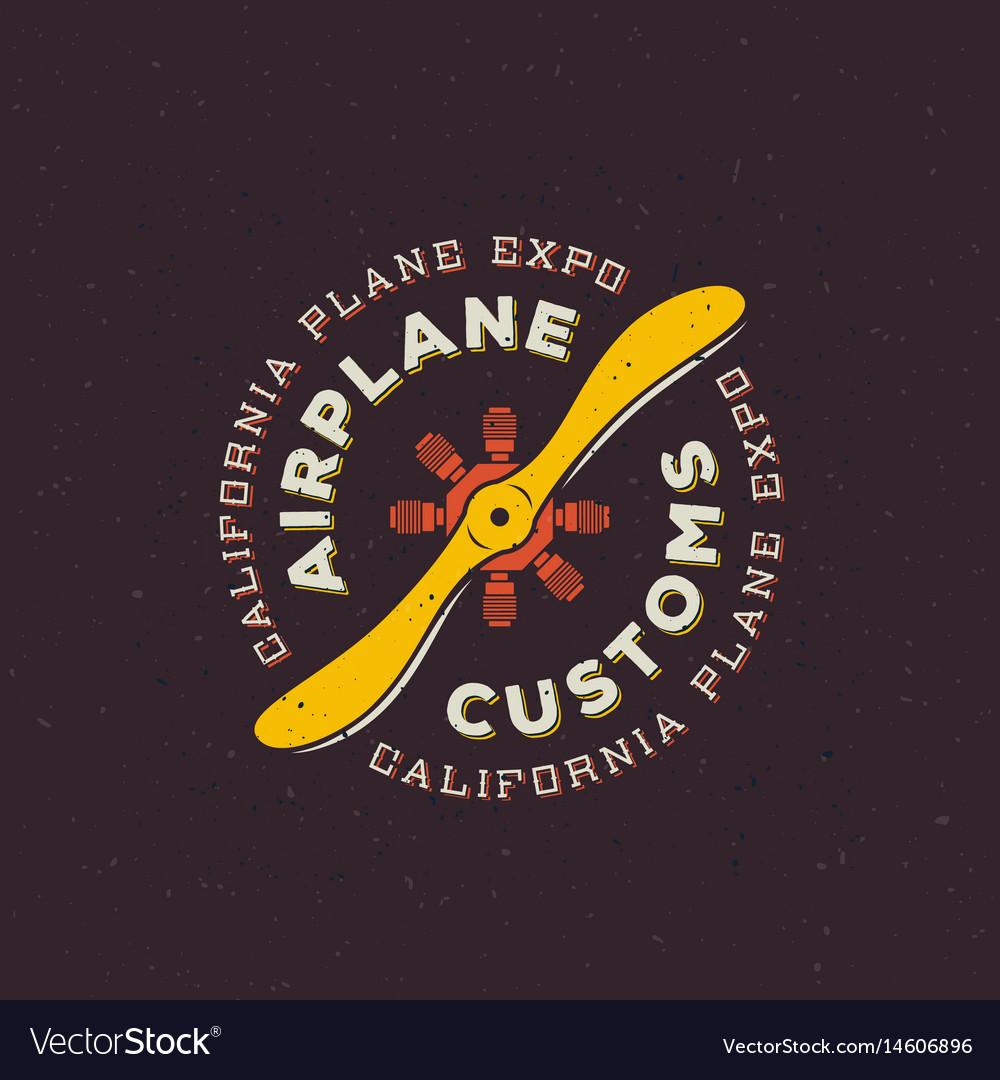Airplane customs retro label sign or logo