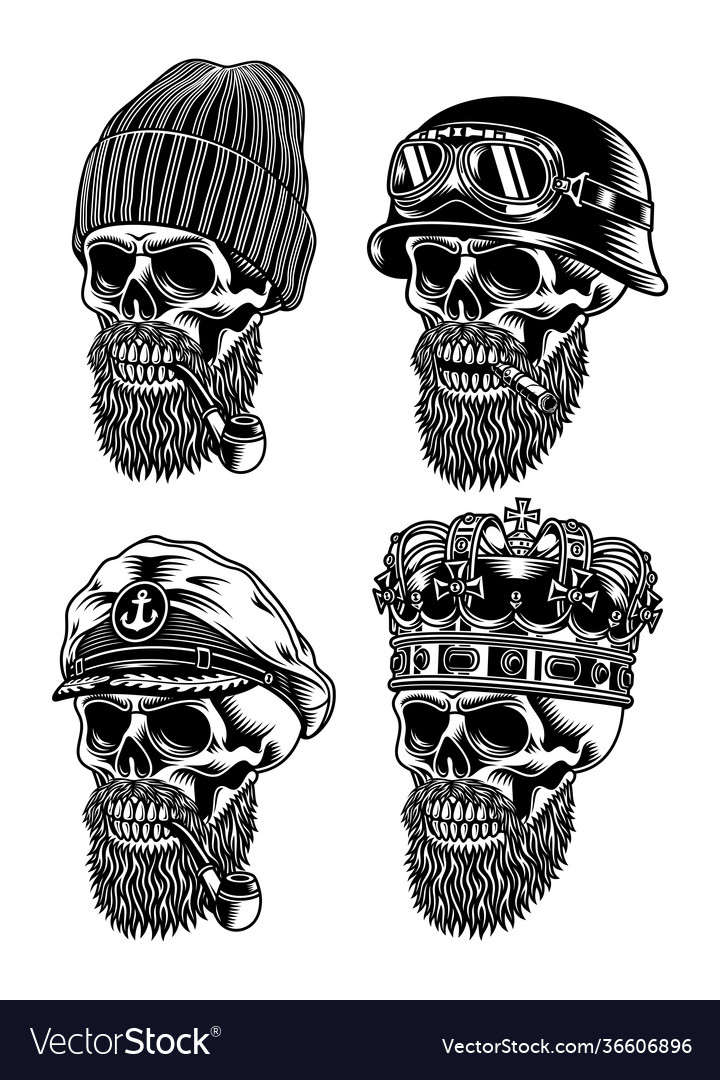 Bearded skull characters collection
