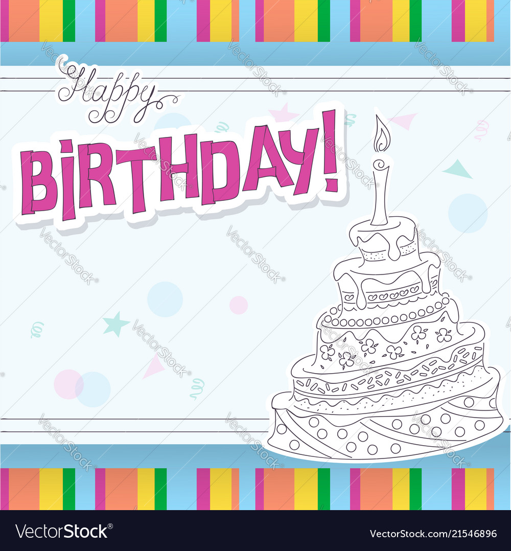 birthday card with outline doodle cake vector