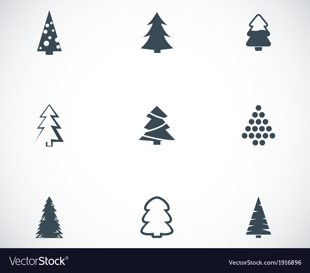 Black Christmas Tree Icons Set