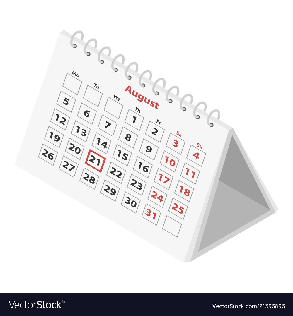 Calendar icon isometric style