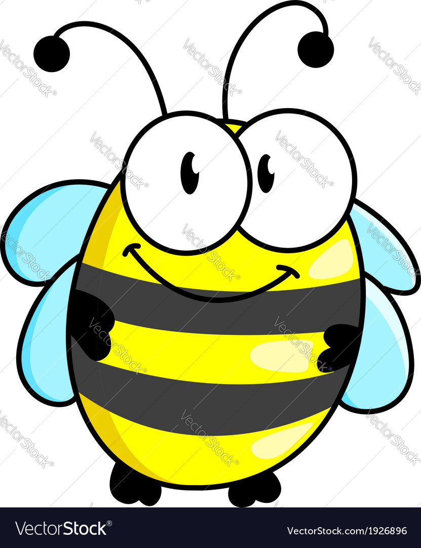Cartoon striped little bee vector image