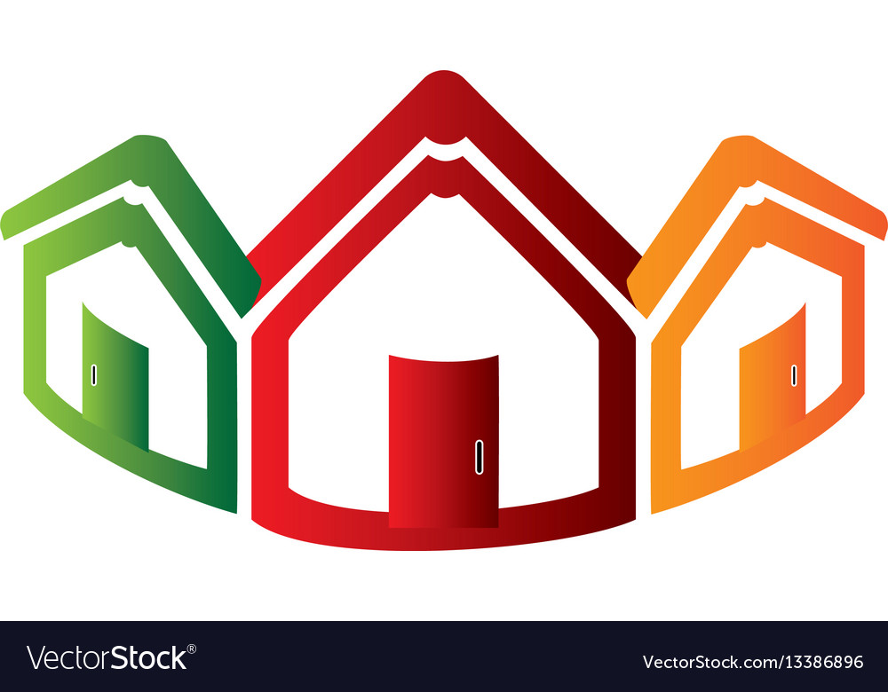 Colorful abstract set collection houses icon vector image
