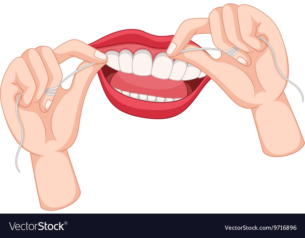 Flossing teeth on white background