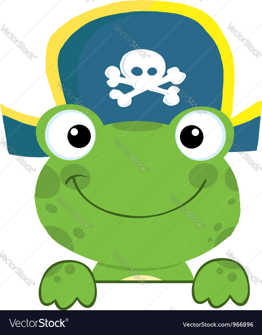 Frog With Pirate Hat Over A Sign Board
