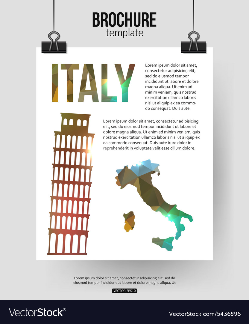 Italy travel background Brochure with Italy map