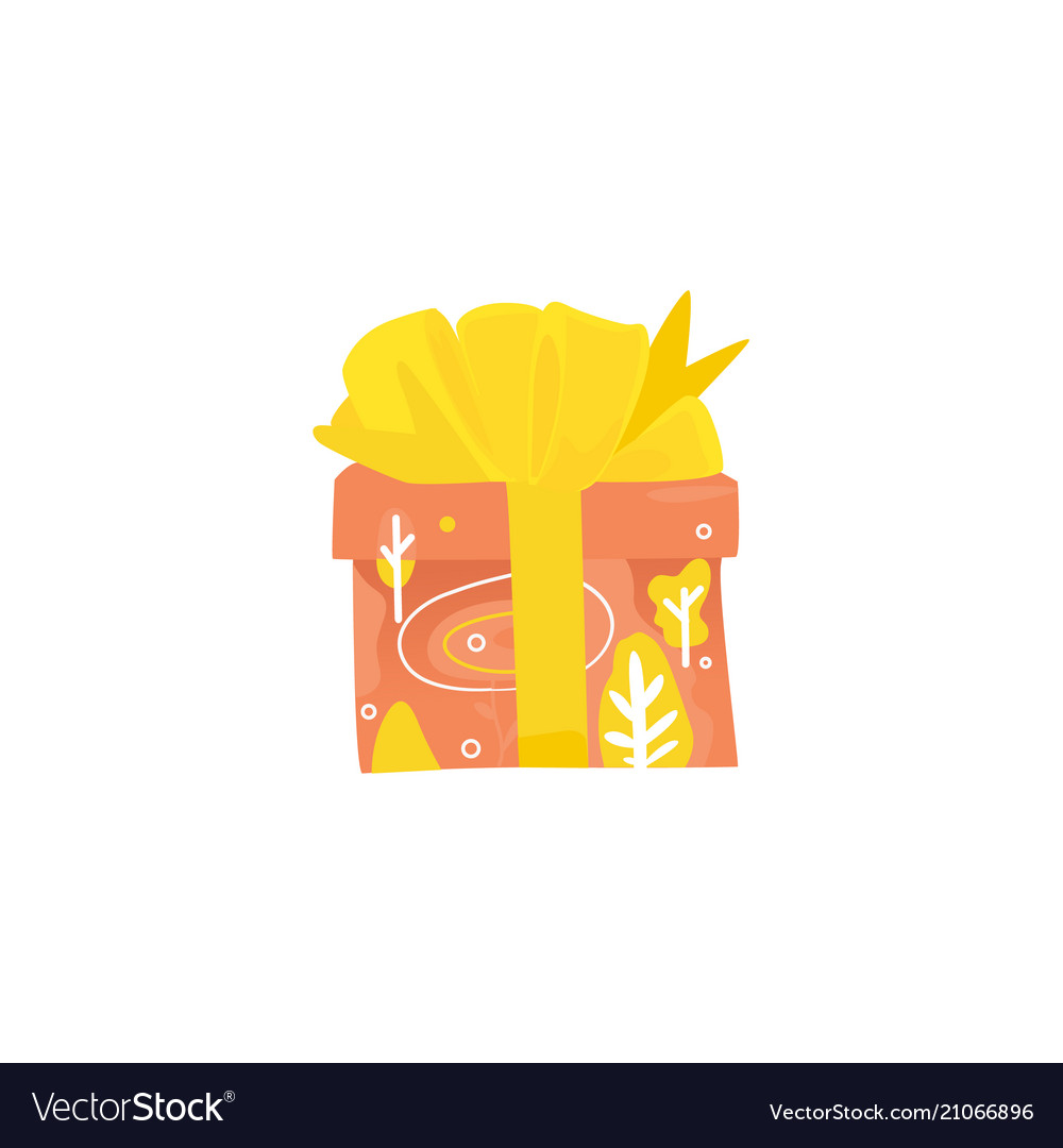 Present box wrapped with pink decorative paper and vector image