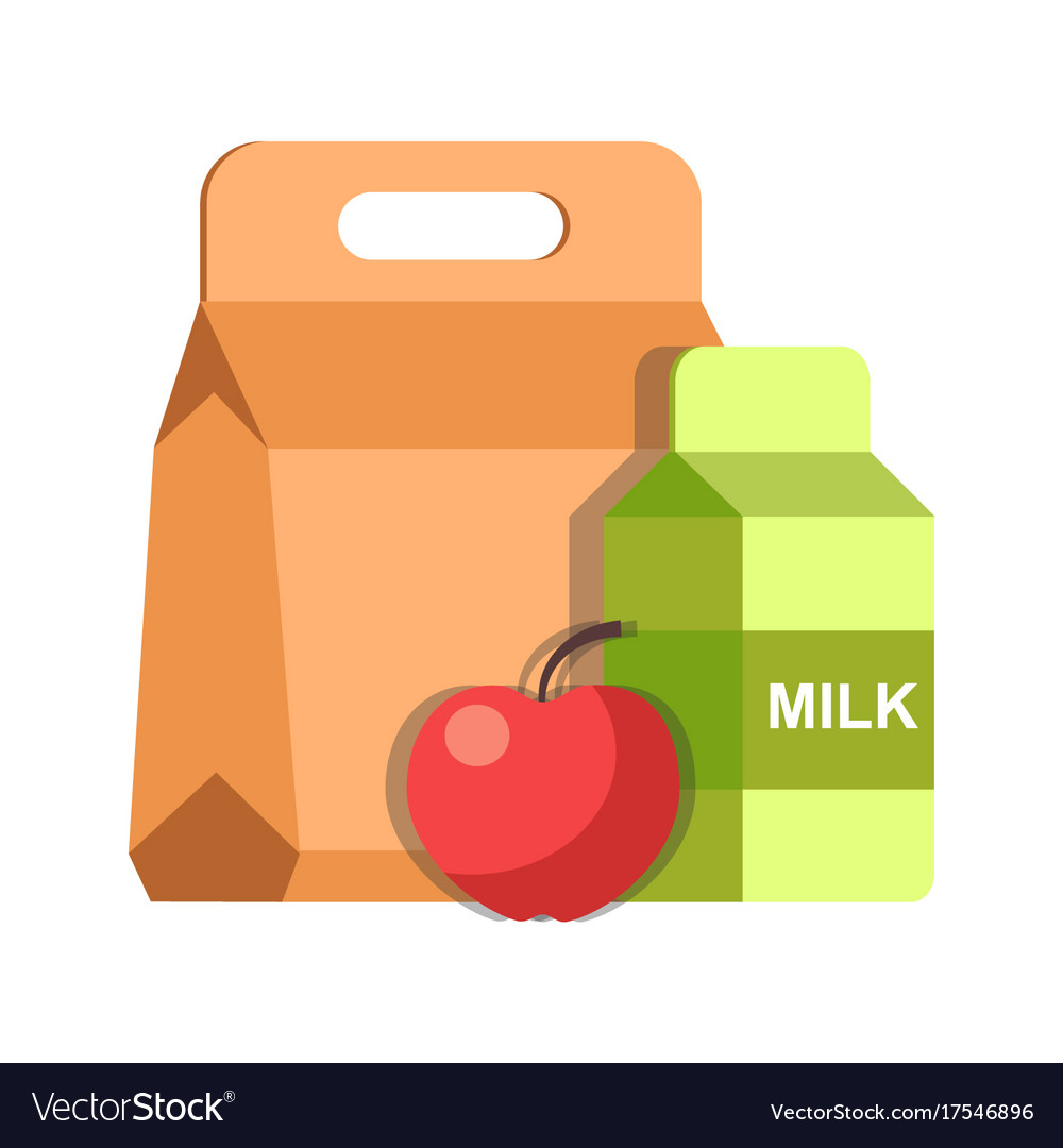School lunch meal box breakfast container and milk