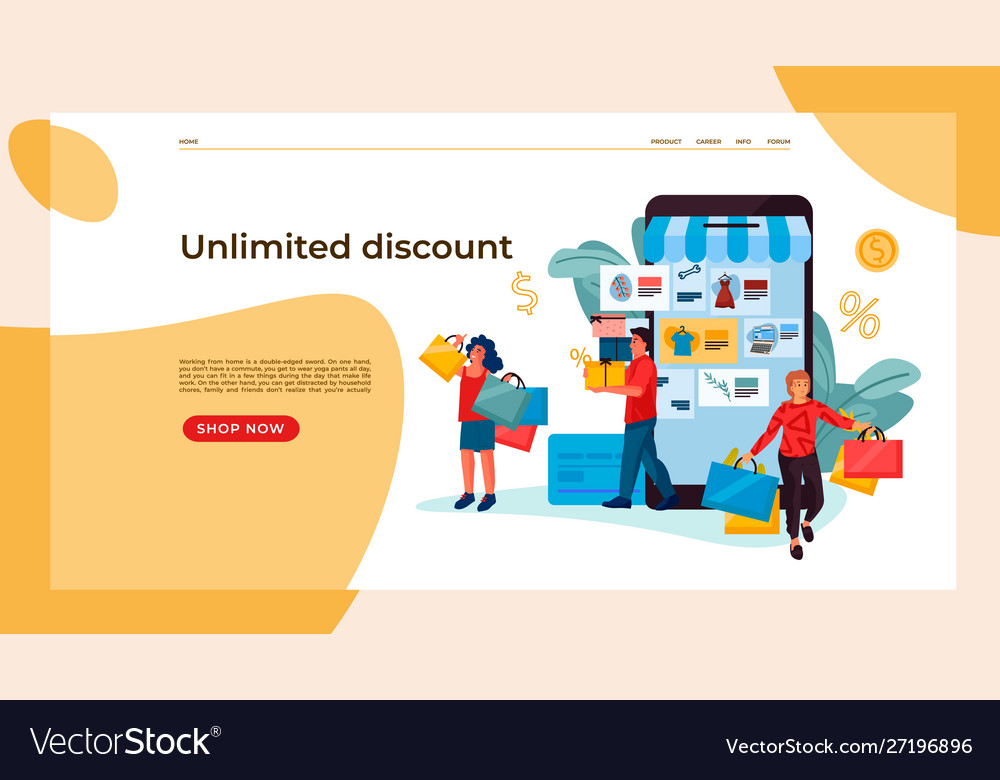 Shopping people landing page trendy people